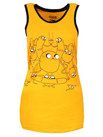 Adventure Time Jake Tank Top Yellow Women's AT Vest: Skinny Fit Extra Large (UK 14 - 16) Clothing