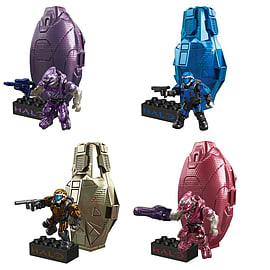 Halo Mega Bloks Set of 4 Metallic Series 2 Drop Pods - Copper Cobalt Crimson Purple Blocks and Bricks