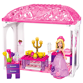 Mega Bloks Barbie Build 'n Play Princess Tea Time Building Kit Blocks and Bricks