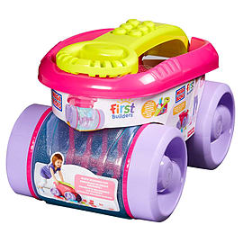 Mega Bloks First Builders Block Scooping Wagon Building Set, Pink Blocks and Bricks