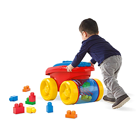 Mega Bloks First Builders Block Scooping Wagon Building Set, Red Blocks and Bricks