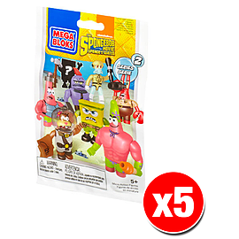 Mega Bloks Spongebob Squarepants Series 2 Minifigures Mystery Bag (x5 Packs) Blocks and Bricks
