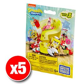 Mega Bloks Spongebob Squarepants Series 3 Minifigures Mystery Bag (x5 Packs) Blocks and Bricks