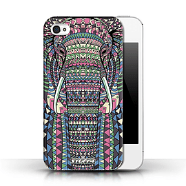 STUFF4 Phone Case/Cover for Apple iPhone 4/4S/Elephant-Colour Design/Aztec Animal Design Collection Mobile phones