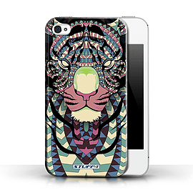 STUFF4 Phone Case/Cover for Apple iPhone 4/4S/Tiger-Colour Design/Aztec Animal Design Collection Mobile phones