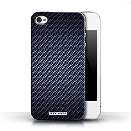 STUFF4 Phone Case/Cover for Apple iPhone 4/4S/Blue Design/Carbon Fibre Effect/Pattern Collection Mobile phones
