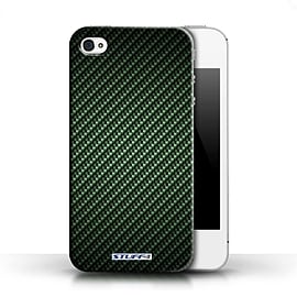 STUFF4 Phone Case/Cover for Apple iPhone 4/4S/Green Design/Carbon Fibre Effect/Pattern Collection Mobile phones