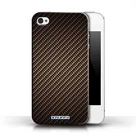 STUFF4 Phone Case/Cover for Apple iPhone 4/4S/Gold Design/Carbon Fibre Effect/Pattern Collection Mobile phones