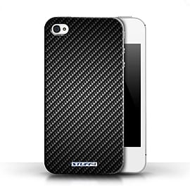 STUFF4 Phone Case/Cover for Apple iPhone 4/4S/Grey Design/Carbon Fibre Effect/Pattern Collection Mobile phones