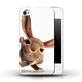 STUFF4 Phone Case/Cover for Apple iPhone 4/4S/Peeking Bunny Design/Funny Animals Collection Mobile phones