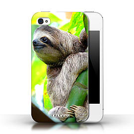 STUFF4 Phone Case/Cover for Apple iPhone 4/4S/Sloth Design/Wildlife Animals Collection Mobile phones