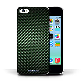 STUFF4 Phone Case/Cover for Apple iPhone 5C/Green Design/Carbon Fibre Effect/Pattern Collection Mobile phones