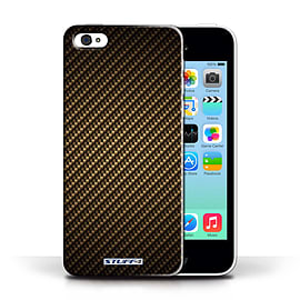 STUFF4 Phone Case/Cover for Apple iPhone 5C/Gold Design/Carbon Fibre Effect/Pattern Collection Mobile phones