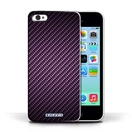 STUFF4 Phone Case/Cover for Apple iPhone 5C/Purple Design/Carbon Fibre Effect/Pattern Collection Mobile phones