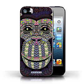STUFF4 Phone Case/Cover for Apple iPhone 5/5S/Monkey-Colour Design/Aztec Animal Design Collection Mobile phones