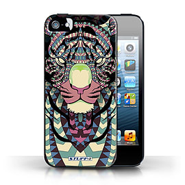 STUFF4 Phone Case/Cover for Apple iPhone 5/5S/Tiger-Colour Design/Aztec Animal Design Collection Mobile phones