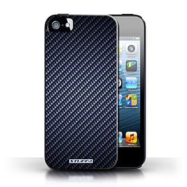 STUFF4 Phone Case/Cover for Apple iPhone 5/5S/Blue Design/Carbon Fibre Effect/Pattern Collection Mobile phones