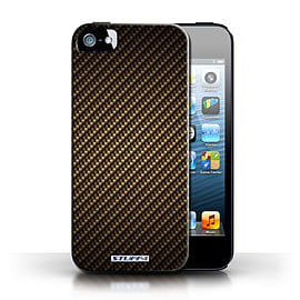 STUFF4 Phone Case/Cover for Apple iPhone 5/5S/Gold Design/Carbon Fibre Effect/Pattern Collection Mobile phones