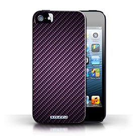 STUFF4 Phone Case/Cover for Apple iPhone 5/5S/Purple Design/Carbon Fibre Effect/Pattern Collection Mobile phones