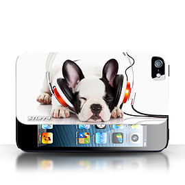 STUFF4 Phone Case/Cover for Apple iPhone 5/5S/Snooze Headphone Dog Design/Funny Animals Collection Mobile phones