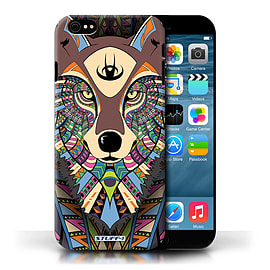 STUFF4 Phone Case/Cover for Apple iPhone 6/Wolf-Colour Design/Aztec Animal Design Collection Mobile phones