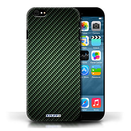 STUFF4 Phone Case/Cover for Apple iPhone 6/Green Design/Carbon Fibre Effect/Pattern Collection Mobile phones