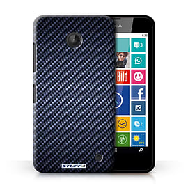 STUFF4 Phone Case/Cover for Nokia Lumia 635/Blue Design/Carbon Fibre Effect/Pattern Collection Mobile phones