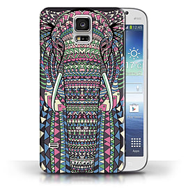 STUFF4 Phone Case/Cover for Samsung Galaxy S5/SV/Elephant-Colour Design/Aztec Animal Design Mobile phones