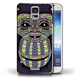STUFF4 Phone Case/Cover for Samsung Galaxy S5/SV/Monkey-Colour Design/Aztec Animal Design Collection Mobile phones