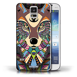 STUFF4 Phone Case/Cover for Samsung Galaxy S5/SV/Wolf-Colour Design/Aztec Animal Design Collection Mobile phones