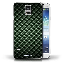 STUFF4 Phone Case/Cover for Samsung Galaxy S5/SV/Green Design/Carbon Fibre Effect/Pattern Collection Mobile phones