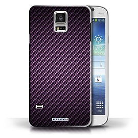 STUFF4 Phone Case/Cover for Samsung Galaxy S5/SV/Purple Design/Carbon Fibre Effect/Pattern Mobile phones