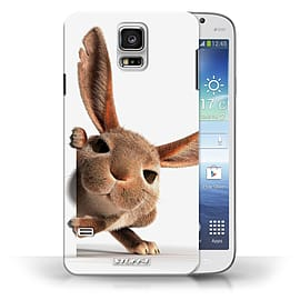 STUFF4 Phone Case/Cover for Samsung Galaxy S5/SV/Peeking Bunny Design/Funny Animals Collection Mobile phones