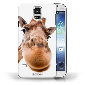STUFF4 Phone Case/Cover for Samsung Galaxy S5/SV/Closeup Giraffe Design/Funny Animals Collection Mobile phones