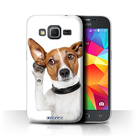 STUFF4 Phone Case/Cover for Samsung Galaxy Core Prime/Listening Dog Design/Funny Animals Collection Mobile phones