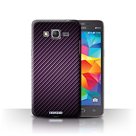 STUFF4 Phone Case/Cover for Samsung Galaxy Grand Prime/Purple Design/Carbon Fibre Effect/Pattern Mobile phones