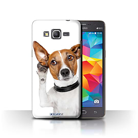 STUFF4 Phone Case/Cover for Samsung Galaxy Grand Prime/Listening Dog Design/Funny Animals Collection Mobile phones