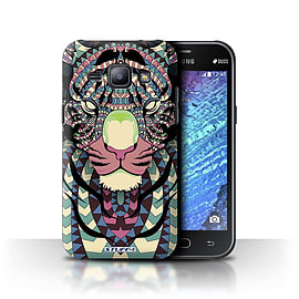 STUFF4 Phone Case/Cover for Samsung Galaxy J1/J100/Tiger-Colour Design/Aztec Animal Design Mobile phones
