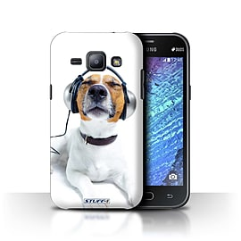 STUFF4 Phone Case/Cover for Samsung Galaxy J1/J100/Chillin Headphone Dog Design/Funny Animals Mobile phones
