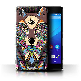 STUFF4 Phone Case/Cover for Sony Xperia M4 Aqua/Wolf-Colour Design/Aztec Animal Design Collection Mobile phones