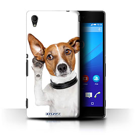 STUFF4 Phone Case/Cover for Sony Xperia M4 Aqua/Listening Dog Design/Funny Animals Collection Mobile phones
