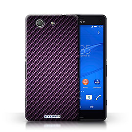 STUFF4 Phone Case/Cover for Sony Xperia Z3 Compact/Purple Design/Carbon Fibre Effect/Pattern Mobile phones