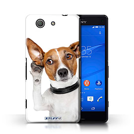 STUFF4 Phone Case/Cover for Sony Xperia Z3 Compact/Listening Dog Design/Funny Animals Collection Mobile phones