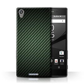 STUFF4 Phone Case/Cover for Sony Xperia Z5/5.2/Green Design/Carbon Fibre Effect/Pattern Collection Mobile phones