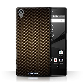 STUFF4 Phone Case/Cover for Sony Xperia Z5/5.2/Gold Design/Carbon Fibre Effect/Pattern Collection Mobile phones