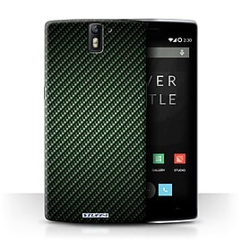 STUFF4 Phone Case/Cover for OnePlus One/Green Design/Carbon Fibre Effect/Pattern Collection Mobile phones