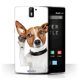 STUFF4 Phone Case/Cover for OnePlus One/Listening Dog Design/Funny Animals Collection Mobile phones