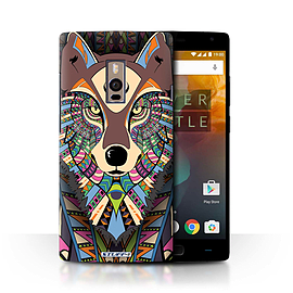 STUFF4 Phone Case/Cover for OnePlus 2/Two/Wolf-Colour Design/Aztec Animal Design Collection Mobile phones