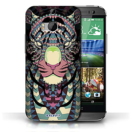 STUFF4 Phone Case/Cover for HTC One/1 M8/Tiger-Colour Design/Aztec Animal Design Collection Mobile phones