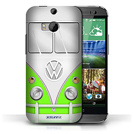 STUFF4 Phone Case/Cover for HTC One/1 M8/Green Design/VW Camper Van Collection Mobile phones